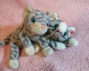 Cute Kitten Plushies - Ty Beanie Babies - Cat Plush - Kitty Plushies - Gray Cats - Kawaii Vintage - Retired Stuffed Animals