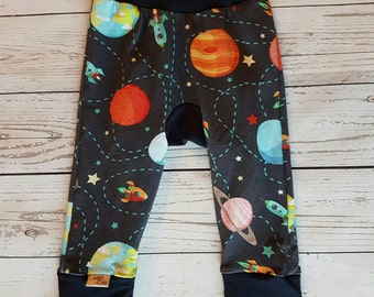 Monster Bunz Pants, Space, Planets, Multicolour, Navy, Grow Pants, Baby, Rockets