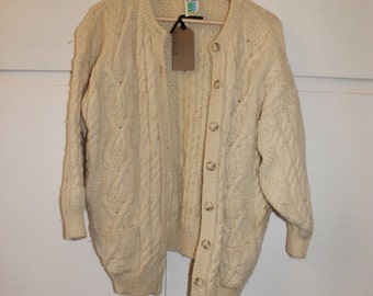Chunky Knit Cream Aran Cardigan