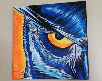 """Comic Owl Painting 12"""" x 12"""" acrylic on gallery canvas"""