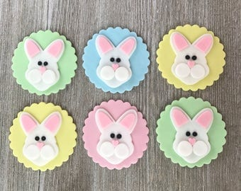 Easter Cupcake Toppers - Easter Bunny - Edible Fondant - Set of 12