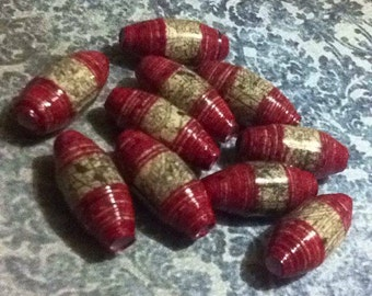10 Red/Tan Paper Beads. Hand made and glazed.