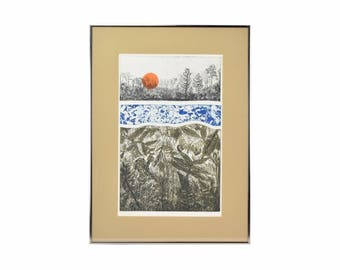 """Vintage """"Genesis"""" Limited Edition Color Lithograph Flora & Insects signed Mildred Breen"""