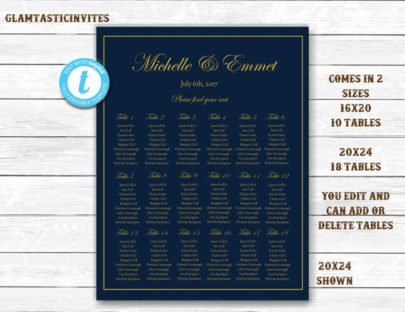 wedding seating chart template navy wedding seating chart navy and