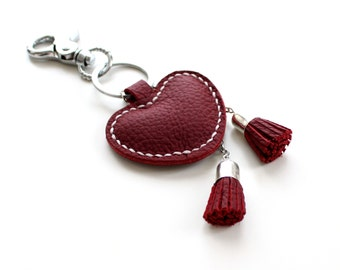 Red Leather Keychain Red Heart Leather Heart Charm Keychain Valentines Day Gift valentine's day keychain Red Keyring Leather Bag Charm