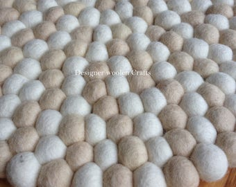 White & Offwhite Felt Ball Rug - Nepalese Handmade 100%  Wool Nursery Rug Home and Kids Room Decor Area Rug - Felt Wool Rug for Baby Gift