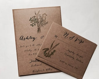 Budget saving - Herbal Wedding Invitation - garden wedding - Rosemary Wedding - Botanical Invitation - Vintage wedding - Green wedding -