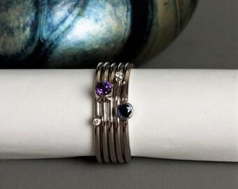 Platinum birthstone stacking rings, family birthstone ring, handmade dainty Platinum rings, designer stackable ring, gemstone stacking rings