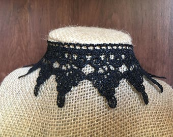 Lace Choker, Victorian Necklace, Black Choker, Elegant Choker