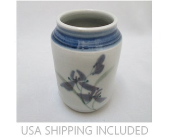 Brush Pot Vase Hand Thrown Hand Painted Lavender Irises Signed