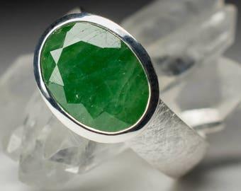 Tsavorite Garnet Silver Ring art 5310 | Natural Organic Green Garnet Sterling Silver Fine Jewelry