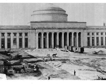 MIT Dome from 1915 Construction of Cambridge Campus - many sizes - facing Charles River and Boston black and white Harvard Poster Framable