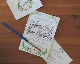 Deposit Only - Hand Lettered Wedding Suite - Brush Lettering - Custom Invitation - Modern, Romantic - Watercolor Wedding Calligraphy