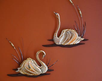 Vintage Wood and Brass Swan Wall Plaques/ Wall Decor