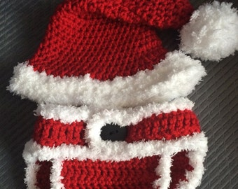 Santa Hat and matching Diaper Cover 2 Pc Set,Crochet Baby Photo Prop, Santa Hat,Christmas Photo Prop. Baby, Newborn, Christmas Santa Hat Set