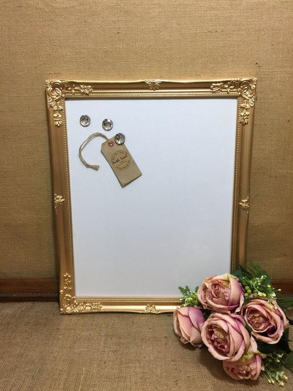 GOLD MAGNET WHITEBOARD - Gold Dry Erase Board - Metallic Framed Message Board - Gold White Board - Gold Magnet Board - Framed Whiteboards