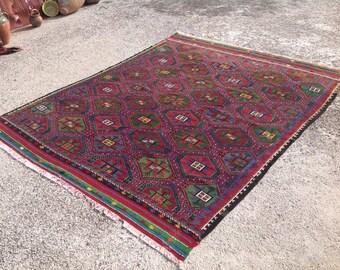"""Kilim rug, Purple and green area rug, 104"""" x 82"""" , Vintage Turkish kilim rug, kelim rug, vintage rug, bohemian rug, purple carpet, 120"""