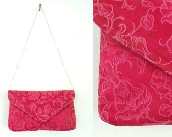 Vintage 90s Red Rose Shoulder Bag, Red Purse, Floral Purse, Flowered Purse, Roses, Rose Purse, Summer Purse, Evening Purse, Shoulder Bag