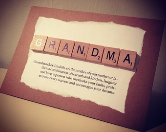 Scrabble birthday grandma, definaition cards or thinking about you card