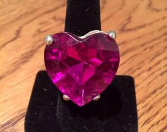 Giant Pink Rhinestone Heart Ring