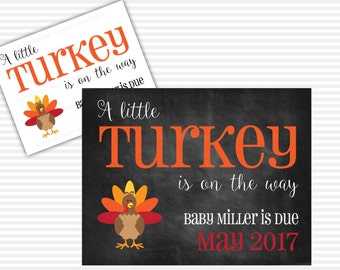 Little Turkey Pregnancy Announcement - PDF or JPEG, Printable Pregnancy Reveal, Photo Prop, Expecting New Baby, Thanksgiving Pregnancy