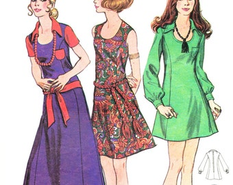 Butterick 5886, Junior & Misses' dress in three lengths; circa 1970; size 9 bust 32
