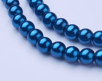 """Blue 8mm Round Glass Pearl Beads (32"""" Strand)"""