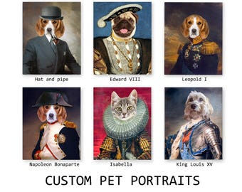 Pet portrait, Personalized Dog portrait, Custom portrait from photo, Gift for pet lovers, King Queen funny pets in clothes, DIGITAL FILE