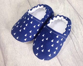 Blue triangle baby shoes, soft sole baby shoes, baby slippers, baby booties