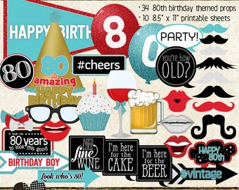 Photo Booth Props, HAPPY 80TH BIRTHDAY, boy, printable sheets, instant download, red, aqua, gold, party idea