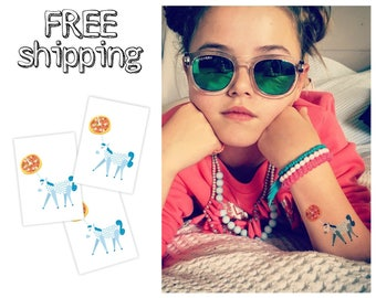 """Set of 3 """"Unicorn with pizza"""" tatts. Kids temporary tattoos with cute design. Best party bag supply.Skin-safe. TT003"""
