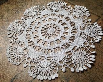 elegant ,beautiful design handmade crochet lace white kaleidoscopic doily, fine thread, home decor, housewarming