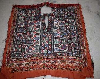 Vintage Small Banjara Neck Yoke Embroidery Applique Patch Sewing craft 105