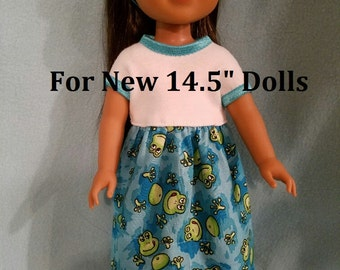 """NEW 14.5 inch ! Dixie-crafted Frog Pond Dress  to fit 14.5"""" Dolls including those from the American Girl Doll Clothes Co"""