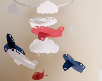 Airplane mobile, Plane mobile, Cloud mobile, Planes, Clouds, stars, star mobile, Baby shower, Baby Nursery, baby boy mobile, boy mobile