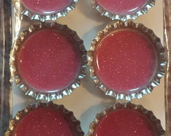Pink Glitter Bottle Cap Magnet