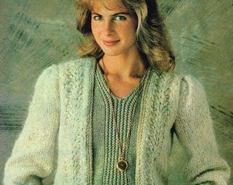 2 Vintage Knitting Patterns -  Ribbed Sleeveless Pullover & Feather Stitch Cardigan - 80's - instant download PDF - 1980's sweater