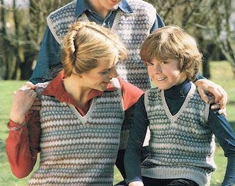 Vintage Knitting Pattern from 1979 - Family Fair Isle Vest - PDF Download - Retro 1970's