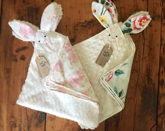 Bunny Lovey Blankie | Baby blanket | Child gift | Soft security blanket | Baby Shower present | Custom vintage favorite
