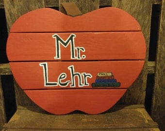 Handmade by Yard Funk Apple For The Teacher Personalized Wood Sign Great Christmas/Teacher Gift