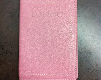 Vintage Passport Wallet - Pink Leather Passport Holder - Gift for the Traveller