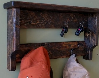 Large Storage Rack w/ Shelf for Keys, Hats, Jackets, Dog Leashes, etc. made from Reclaimed & Repurposed Pallet Wood