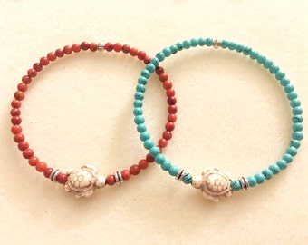 SALE!!! Sea turtle bracelet or elephant bracelet with jasper stone beads or turquoise glass beads elephant gifts turtle jewelry