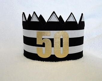 50th Birthday Crown, 50th Birthday Hat, Gold 50th Crown, Gold Birthday Crown, Birthday Party Hat, Adult Crowns, Adult Party Crown
