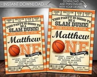 Basketball Invitation, Basketball Birthday Party Invitation, Vintage Basketball Invite, One, First, 1st, Instant Download, Editable PDF #547