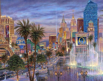 BUY 2 GET 1 FREE! Evening in Vegas Landscape 138 Cross Stitch Pattern Counted Cross Stitch Chart, Pdf Format, Instant Download/358242