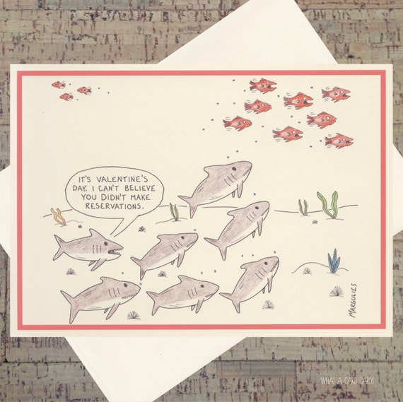 valentines day card shark - Funny Valentines Day Card Shark Card Valentine Dinner