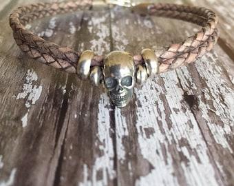 Sterling silver skull/ skull/ sterling silver/ leather bracelet/ skull bracelet