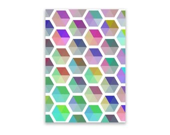 Notepad - Geometric, Notepad, Stationery, Recycled Paper, Hexagon, Shapes, Lined Writing, Notepad