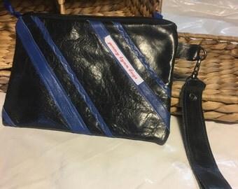 Handmade black leather wristlet set